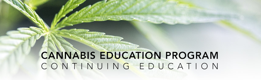 Close up photo of a cannabis leaf and the words 'Cannabis education program - Continuing Education'